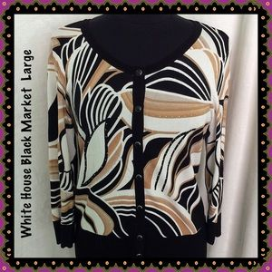 White House Black Market Abstract Print Cardigan